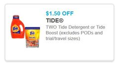 TWO Tide Detergent Tide Boost Coupon Off $1.50