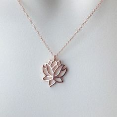 Rose gold necklace, flower, yoga jewelry, minimalist jewelry, charm  necklace, everyday jewelry N186 04180024bf0