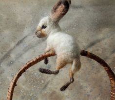 This is a handsome bunny. He has strong features and complex coloring. He is about 6 from nose to tail and needle felted onto a wire armature so he can hug, hang, and hunker. He has dark horsehair whiskers. Needle Felted Animals, Felt Animals, Cute Animals, Small Animals, Wet Felting, Needle Felting, Sleeping Fox, Felt Bunny, Felt Fox