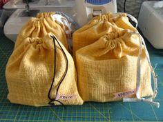 Geburtstagssäckchen aus Tischdecke / Birthday bags made from old tablecloth / Upcycling