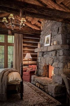 Cozy Cabin Bedroom - LOVE the stone fireplace! Guest Cabin, Cozy Cabin, Cozy Cottage, Log Home Bedroom, Master Bedroom, Cozy Bedroom, Bedroom Retreat, Bedroom Rustic, Log Cabin Bedrooms
