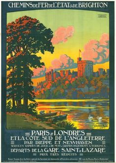 chemins de fer de l'état et de brighton - Paris, Londres par la côte sud de l'Angleterre - Le château de Windsor - illustration de Léon Constant-Duval -