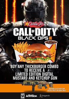 Call of Duty Black OPS III Carl's Jr, Call Of Duty Black, Black Ops, Videogames