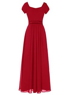 Tideclothes Long Sash Bridesmaid Dress Chiffon Prom Evening Dress Sleeves Dark Red US4 * You can get more details by clicking on the image.