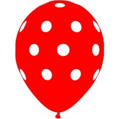 Witte stippen rode ballonnen 40cm heliumstand