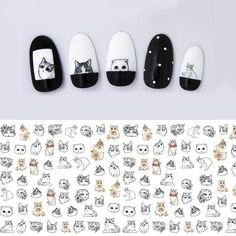 [Visit to Buy] 1 sheet Cat Water Transfer Nail Stickers Cat Nail Decals Nail Art Sticker Tattoo Decals Cat Nail Art, Cat Nails, Nail Art Diy, Coffin Nails, Simple Nail Art Designs, Nail Designs Spring, Cute Nail Designs, Nail Art Stickers, Nail Decals