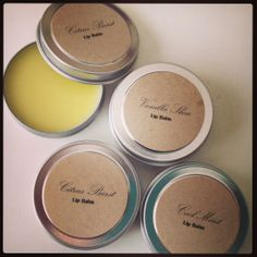Lip balms- made from organic extra virgin olive oil, shea butter, bees wax and essential oils.