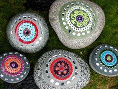 Garden Art by Clare Dohna- mosaic tiles on stones. brilliant work by Vashon Island artist.