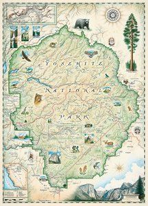 The world map hand illustrated map art by xplorer maps home xplorer maps yosemite 1000 piece puzzle by masterpieces gumiabroncs Images