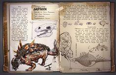 Gastonia Fan Dossier 'Tectis Arma-Murus' by Malkizid Mythical Creatures Art, Fantasy Creatures, Ark Evolution, Game Ark Survival Evolved, Dinosaur Photo, Indominus Rex, Survival Books, The Lost World, Prehistoric Animals