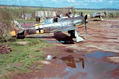Fighter Focke-Wulf Fw 190 German fighter squadron of JG 54 at the airport Siverskaya