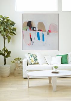 LOLA DONOGHUE > GICLEE PRINT of WHITE abstract painting with blue and beige, Modern painting. *Bells and Whistles no.3**