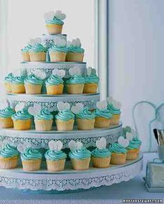 Doily-Decorated Cupcake Tower
