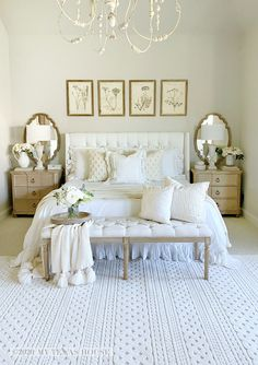 Farmhouse Master Bedroom, Master Bedroom Makeover, Master Bedroom Design, Shabby Chic Master Bedroom, Pretty Bedroom, Romantic Master Bedroom Ideas, White Rustic Bedroom, French Master Bedroom, Cream And White Bedroom