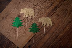 Bear & Tree Cupcake Toppers (12 Pieces) {CUSTOMIZABLE} - Cupcake Decor, Photo Props, Birthday Party Baby Shower, Woodland Party, Wilderness by CutPartySupplies on Etsy Woodland Party, Baby Shower Parties, Cupcake Toppers, Photo Props, Wilderness, Bear, Birthday, Unique Jewelry, Handmade Gifts