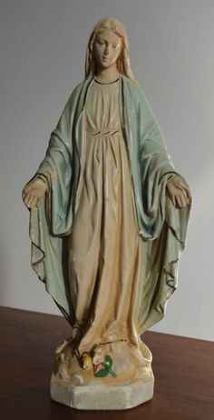 Vintage Virgin Mary Catholic Votive Figure Statue | eBay