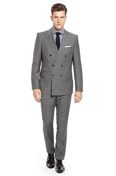 'Darrington/Knight' | Slim Fit, Doubled Breasted Virgin Wool Suit by BOSS