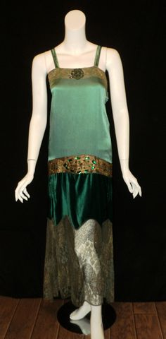 Emerald Pan Silk/Velvet Beaded Lame Dress, 1920's.