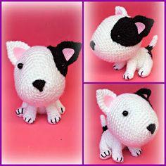 Crochet Wool, Crochet Crafts, Yarn Crafts, Crochet Projects, Easy Crochet Animals, Knitted Animals, Crochet Dog Patterns, Amigurumi Patterns, Bull Terrier