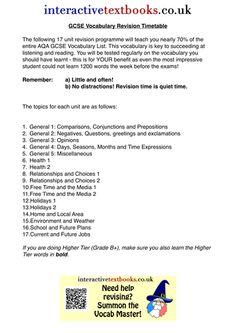 revision timetable gcse