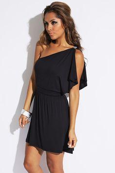 aa2b678833 Black Bejeweled One Shoulder Flutter Summer Evening Mini Dress Short Mini  Dress