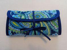 Crochet Hook Case Blue Green Yellow Paisley Quilted Bag Quilted Crochet Hook Case by RoxannasBags on Etsy