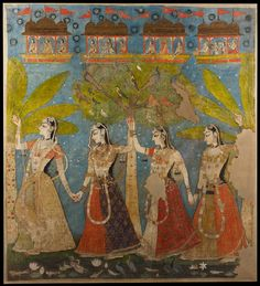 Rajasthani - Portraiture, court life, and mythological scenes - Royal portraits;  'The gopis dance in the forest, or Sarat Purnima', Kishangarh, 1720-1725
