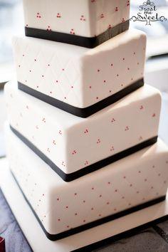 modern twisting square wedding cake black red white Frost Me Sweet