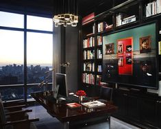 I'm sure any guys would want this office. Masculine Chic :-)
