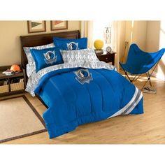 NBA Applique 3-Piece Bedding Comforter Set, Mavericks, Multicolor