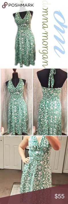 "Donna Morgan print dress Bright Kelly  green and white halter neck dress from Donna Morgan. 38"" from shoulder to hem. This was measured on the dress form. 17"" armpit to armpit laying flat. Donna Morgan Dresses Midi"