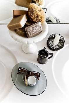 This is such a great way to organize soaps and things... and I love that they appear to be natural!
