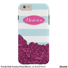 Trendy Pink Country Floral Blue & White Stripes Tough iPhone 6 Plus Case
