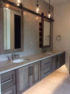 Modern Farmhouse, Rustic Modern, Classic, light and airy bathroom design a few ideas. Bathroom makeover some ideas and bathroom renovation a few ideas. Bathroom Renos, Bathroom Renovations, Home Remodeling, Bathroom Ideas, Wood Bathroom, Bathroom Mirror Storage, Bath Ideas, Bathroom Organization, Mirrors For Bathrooms