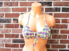 2611cbb5096 Crazy Color Crochet Bikini Top Vikni Crochet Yoga by ThynaCrochet