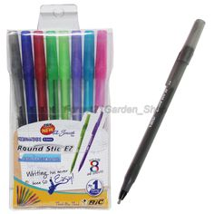x8 Bic  Round Stic Ez Smooth Ball point pens 8 ink Colors Set - 0.5mm (8 Pcs) #BIC