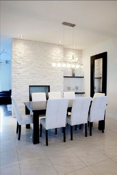 White Stacked Stone Fireplace Wall For Kitchen