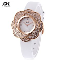 Angela Bos 8009L Women Quartz Watch Flower-shaped Artificial Diamond Dial Wristwatch #>=#>=#>=#>=#> Click on the pin to check out discount price, color, size, shipping, etc. Save and like it!