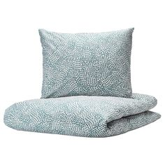 IKEA - TRÄDKRASSULA, Quilt cover and 2 pillowcases, white/blue, The polyester/cotton blend is easy to care for since the fabric is less likely to shrink and crease. Linen Bedding, Bedding Sets, Ikea Sortiment, Motif Simple, Ikea Family, Quilt Cover Sets, Good Sleep, Bed Covers, Recycled Materials