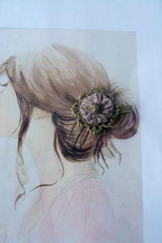 Barrette Pince Crocodile Métal Bronze, Tissu Shabby Vieux Rose,Perle Mauve,Style Bohême : Accessoires coiffure par mon-armoire-jolie