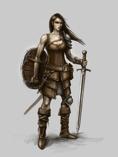 Female wilderness warrior character art for 'Seven Lands' Innogames