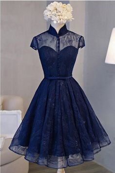 Lace Prom Dresses #LacePromDresses, Navy Prom Dresses #NavyPromDresses, High Neck Prom Dresses #HighNeckPromDresses, Prom Dresses A-Line #PromDressesALine, Blue Prom Dresses #BluePromDresses