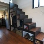 Tiny House Build Photo Gallery -- love that there are large steps to the main loft.  The larger cube is big enough for a w/d and has water hook ups for future appliance.
