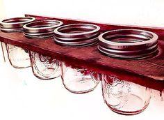 Mason Jar Organizer - Bathroom Organizer - Rustic Decor - Mason Jar Decor - Jewelry Hanger - Herb Garden - Bathroom Decor - Mason Jar Wall
