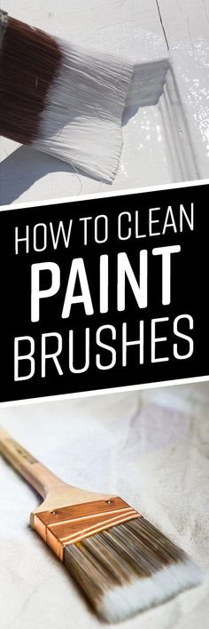 We've all been there: you go to begin a new painting project, only to find paint-chunked brushes from the last project's hasty cleanup. Regular cleaning and ca Painting Tools, House Painting, Painting Lessons, Diy Painting, Cleaning Recipes, House Cleaning Tips, Cleaning Hacks, Cleaning Paint Brushes, Paint Stain