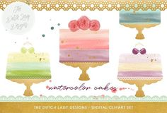 Watercolor Cake Clipart Set by The Dutch Lady Designs on @creativemarket