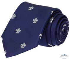 Krawat jedwabny  - lilia  (Fleur de lis)