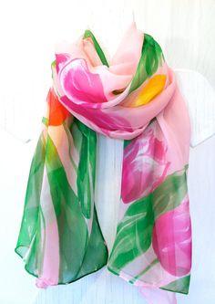 Hand Painted Large Silk Shawl Spring Pastel by SilkCouturebyTakuyo, $164.00
