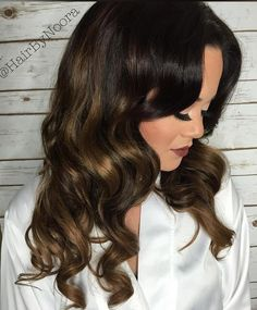 dark brown hair with golden brown balayage - Winter (maybe replace the blonde with another color)