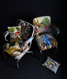Chairs upholstered in old pieces of needlepoint.  re-foundobjects.com/product/view/